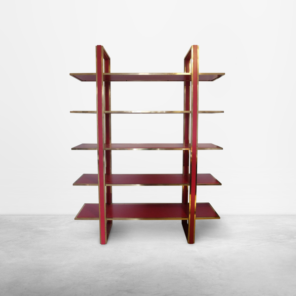 Romeo Rega, Bookshelf in Brass and Red Lacquered Wood, 1970s