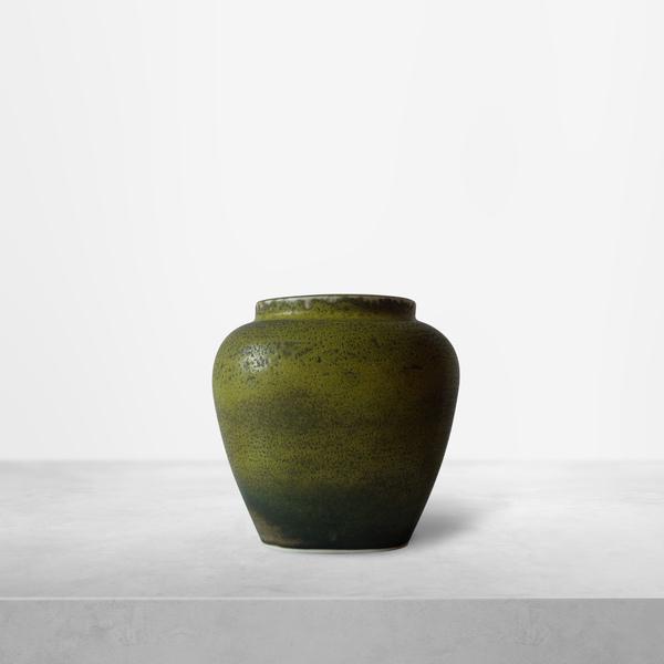 Nils Thorssen for Royal Copenhagen, Green-cream Ceramic Vase, 1940s