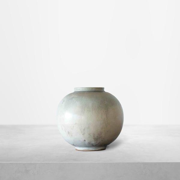 Nils Thorssen for Royal Copenhagen, quaint cream colored spherical Vase, 1940s