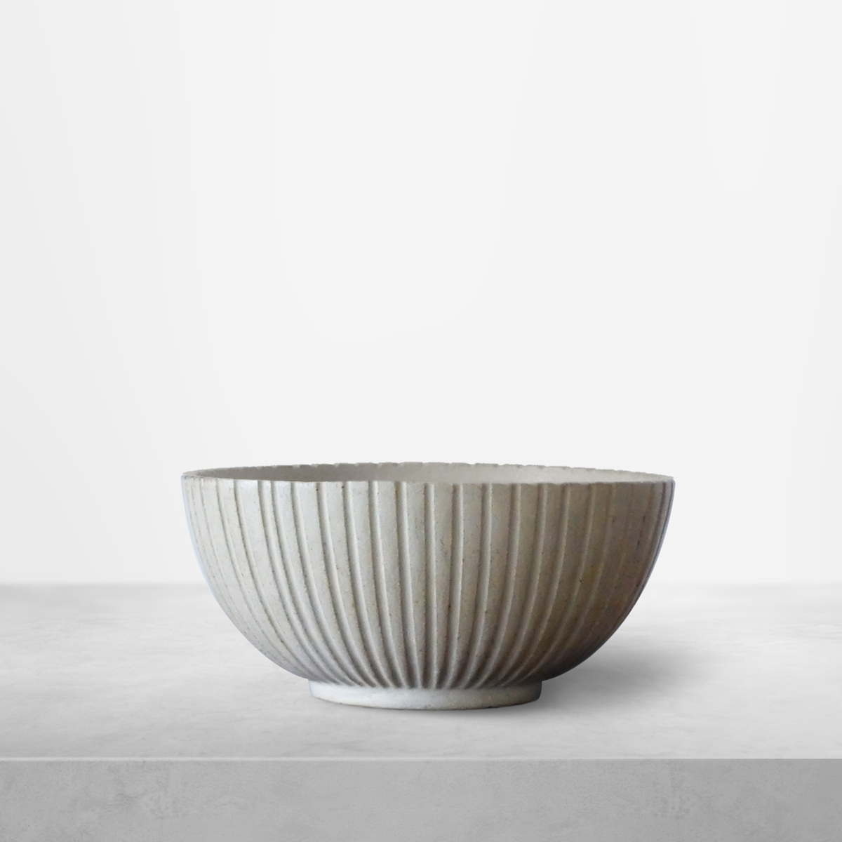 Arne Bang for Royal Copenhagen, Scandinavian Ribbed cream-colored Ceramic Bowl, 1940s