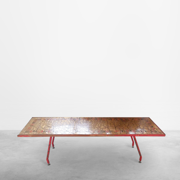 Unique Italian Mid-Century Modern coffee table with ceramic top, 1950s
