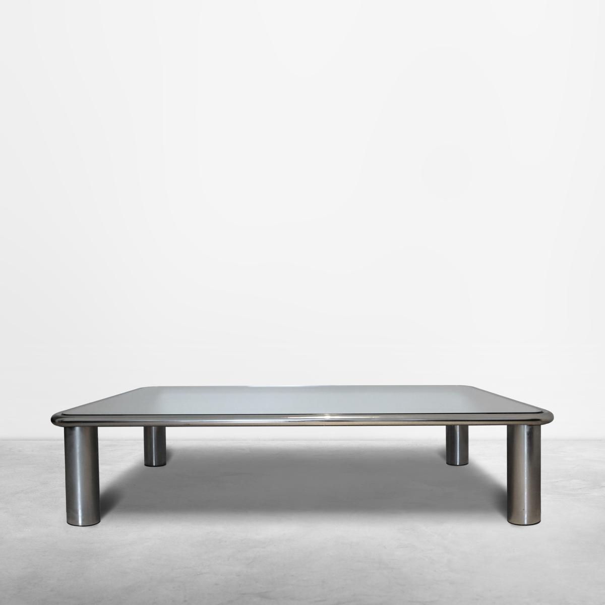 "Gianfranco Frattini for Cassina, Italian Mid-Century ""Sesann"" Coffee Table in chromed metal and mirror top, 1968"