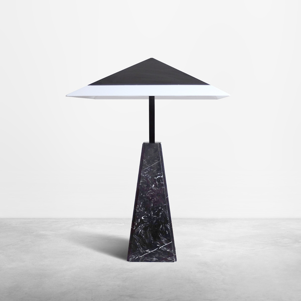 "Cini Boeri for Arteluce, Italian Mid-Century ""Abat Jour"" monumental lamp in black marble and metal, 1970"