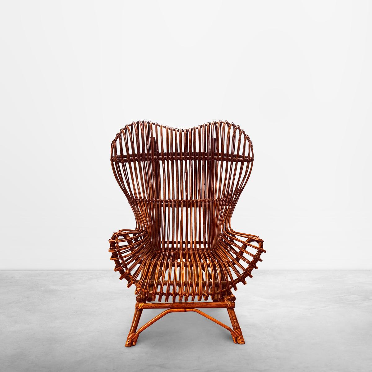 "Franco Albini for Bonacina, Mid-Century Rattan Chair ""Gala"", 1951."