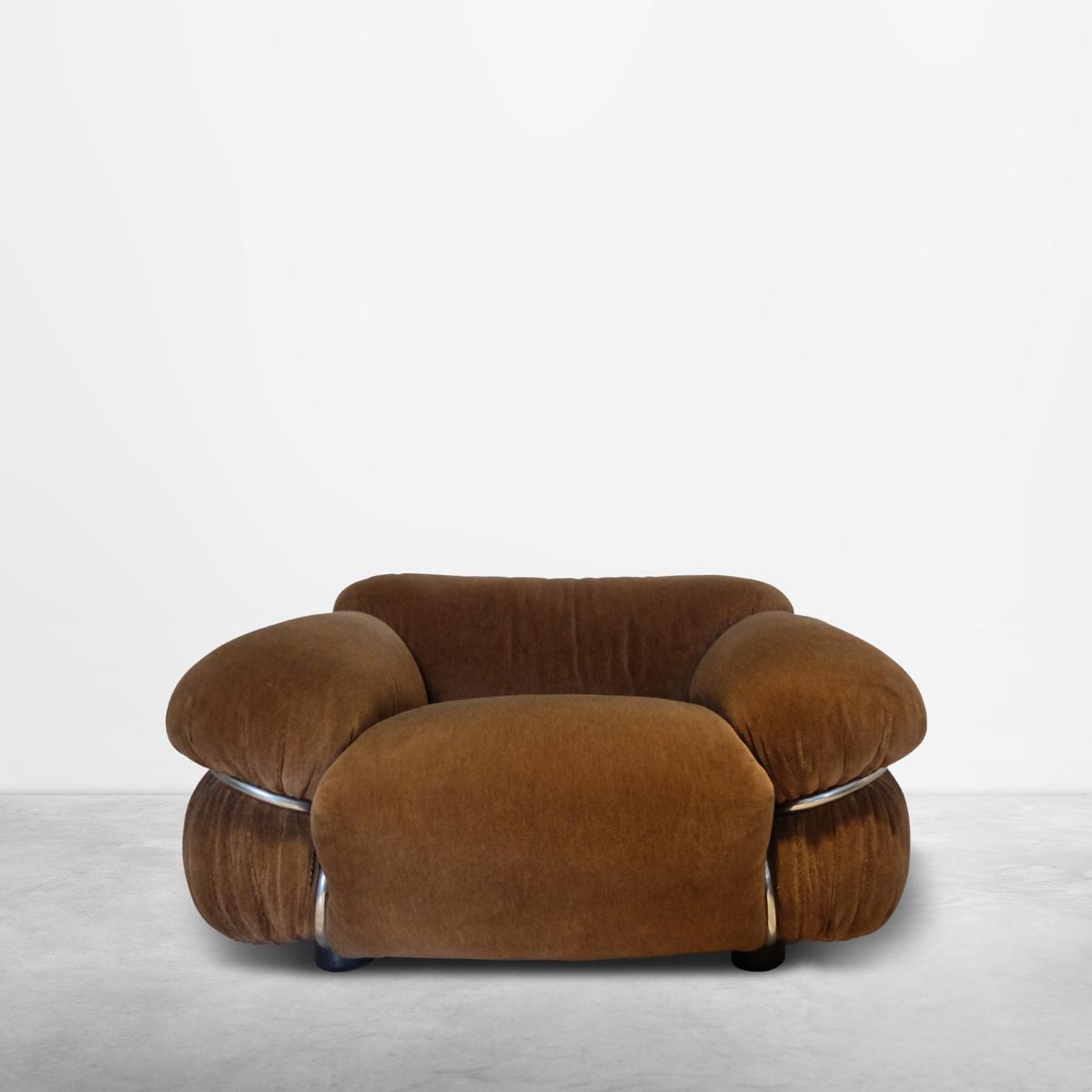 "Gianfranco Frattini for Cassina, Italian Mid-Century ""Sesann"" armchair sofa in original upholstery, 1968"