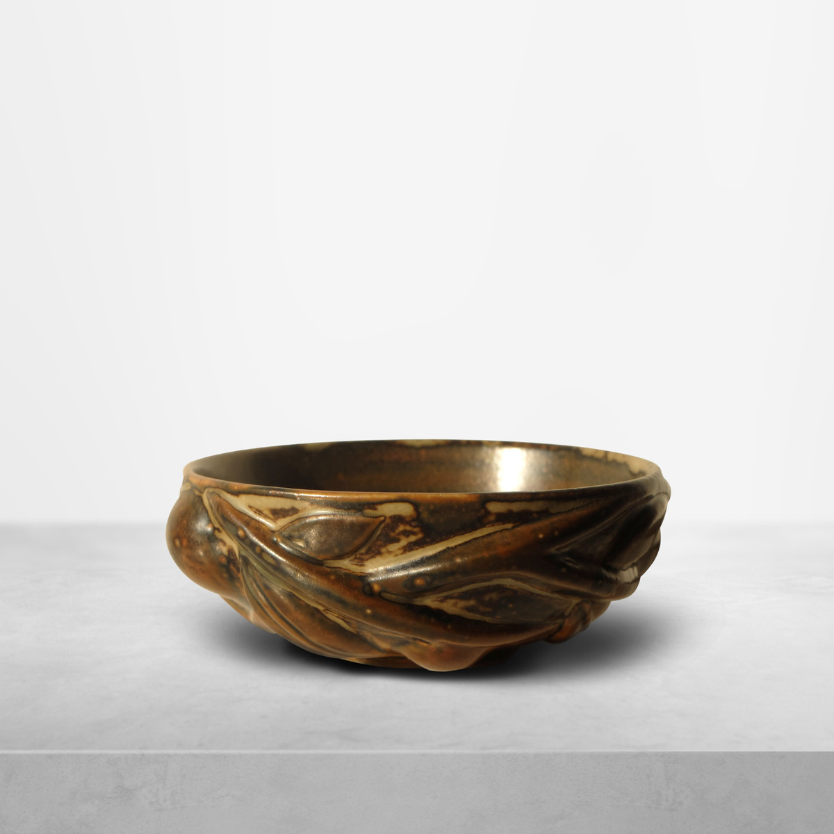 "Axel Salto for Royal Copenhagen, earthy ""20677"" model ceramic bowl signed by artist, 1944"