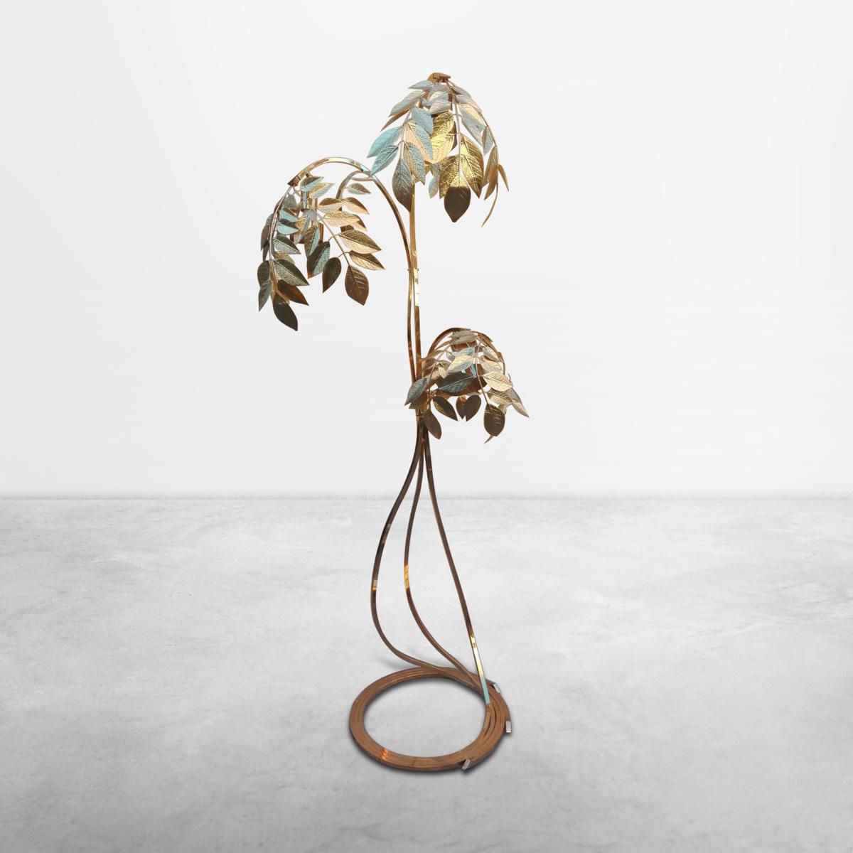"Tommaso Barbi for Bottega Gadda, Italian Mid-century stately ""Rabarbaro"" brass floor lamp, 1972"