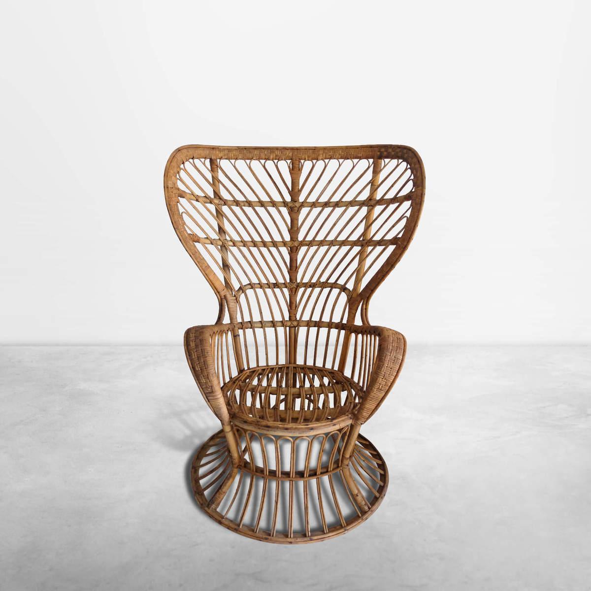 Lio Carminati & Gio Ponti for Bonacina, Italian Mid-century rattan armchair in perfect conditions, 1950s