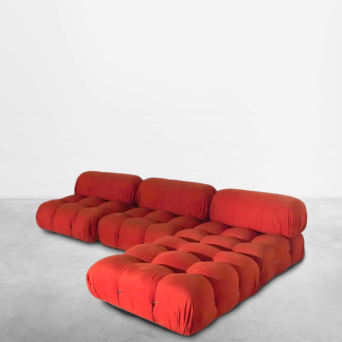 """Mario Bellini for B&B Italia, Italian Mid-Century """"Camaleonda"""" set of 4 modulse sofas in original orange fabric, 1970"""