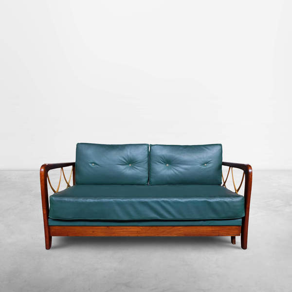 Italian Mid-Century Daybed in Green Leather and wood attributed to Paolo Buffa, 1940s