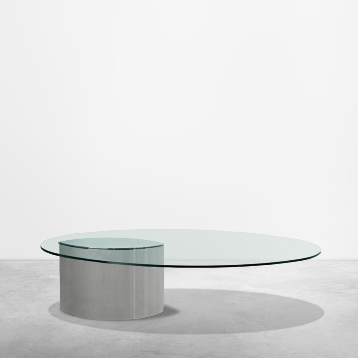 Cini Boeri for Gavina, Lunario cocktail cantilevered table in chromed metal and glass, 1970