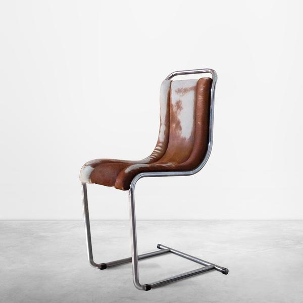 Ico Parisi for Fratelli Longhi, Italian Mid-Century Calf Hair Chair in Tubular Metal, 1969