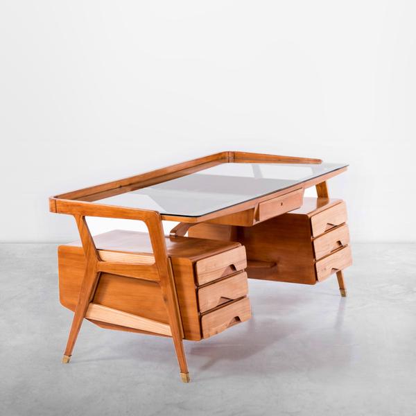Rare Gio Ponti Desk in Walnut, Brass and Glass, 1950