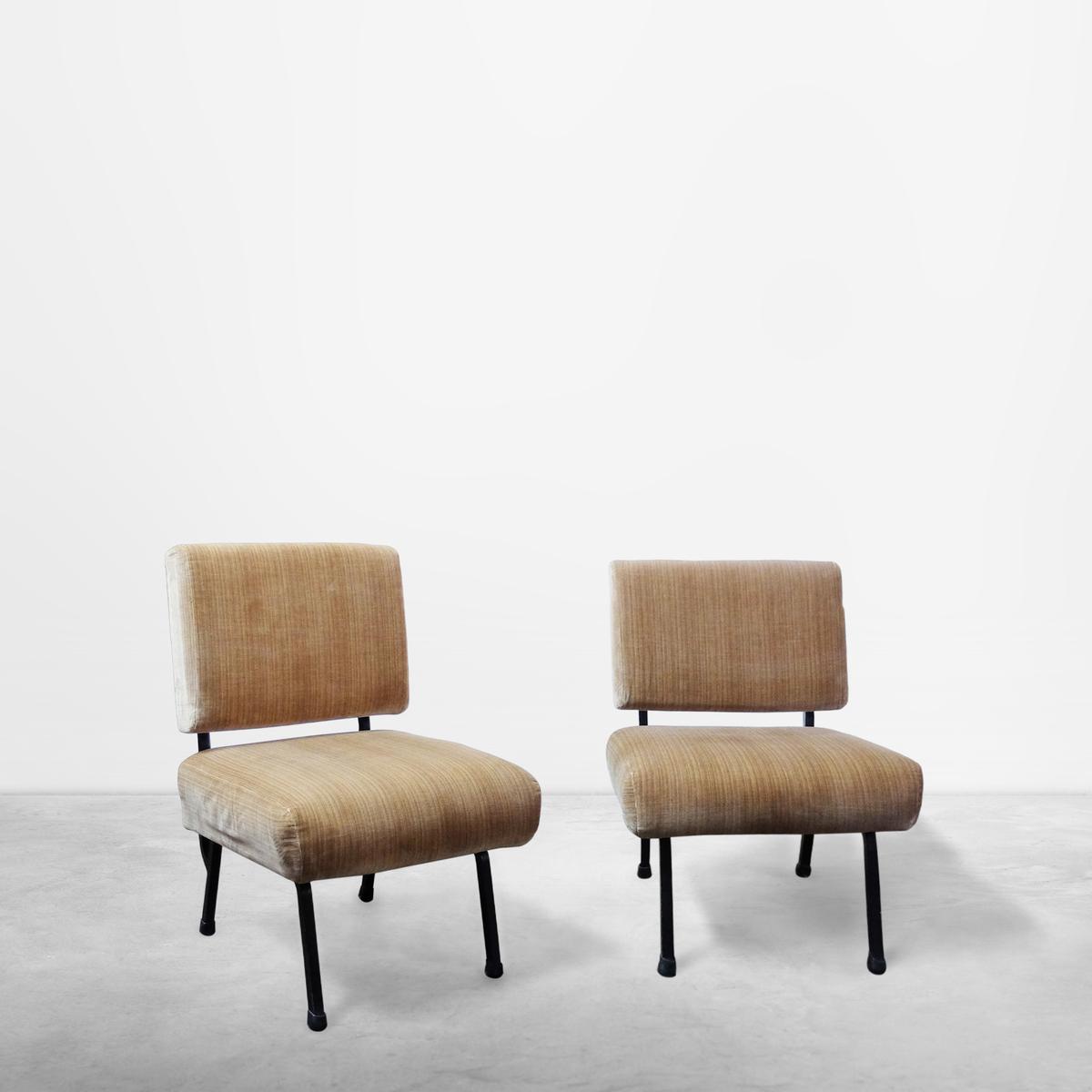Pair of Italian Mid-Century Modernist Armchairs, in Soft Velvet Fabric, 1950s