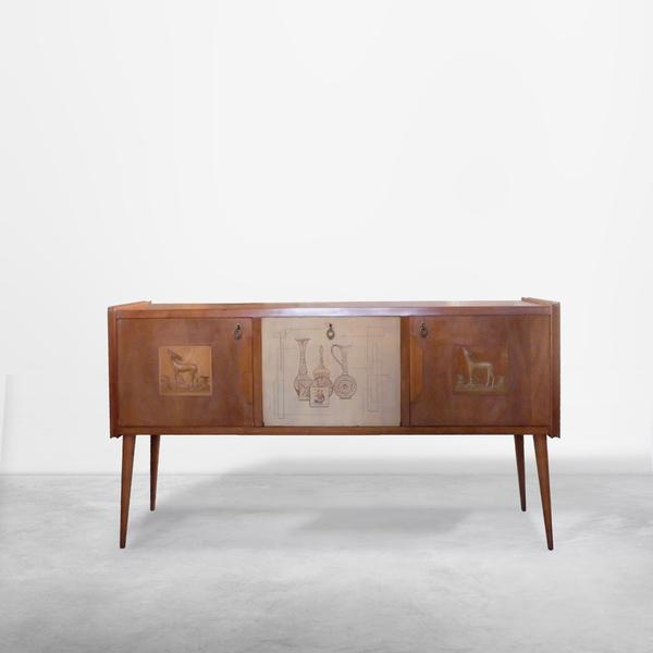 Paolo Buffa style Italian decorated sideboard, created in wood, brass 1950s