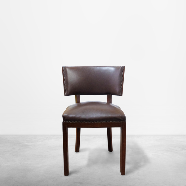 Italian Mid-Century Modern Set of Two Brown Leather and Wood Chairs, circa 1950