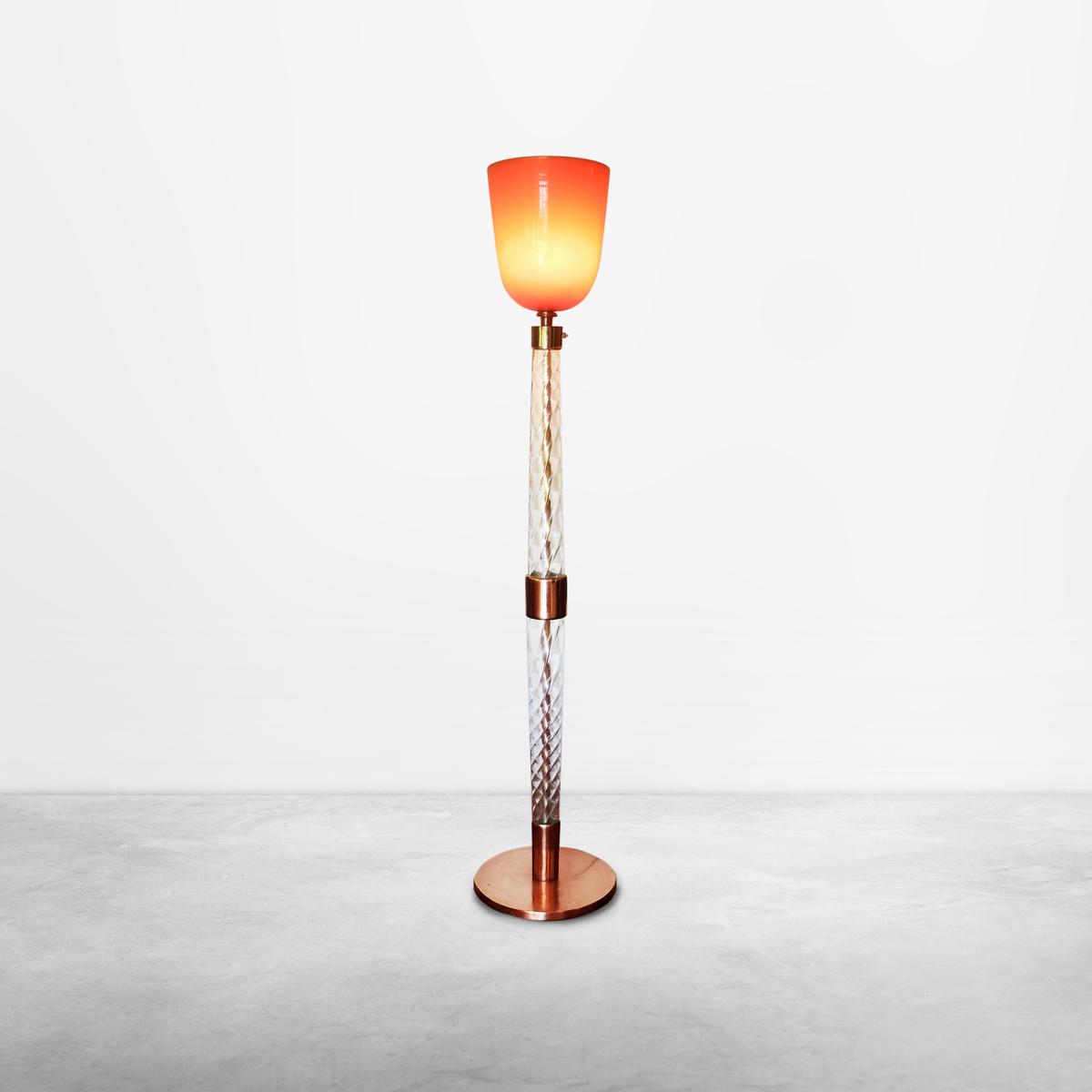 """Tomaso Buzzi for Venini, Mid-Century Floor Lamp Signed """"Venini Murano"""" 1930s"""