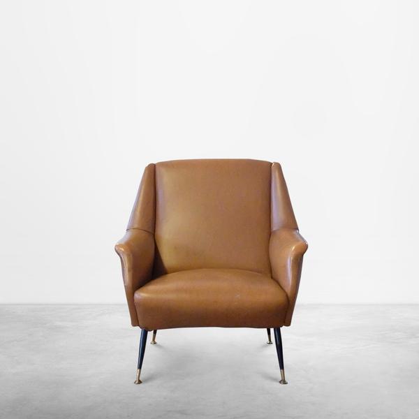 Italian Mid-century Leather Armchair, circa 1950