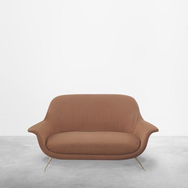 Italian Mid-Century Modern Red Maroon Brown Sofa, 1950s