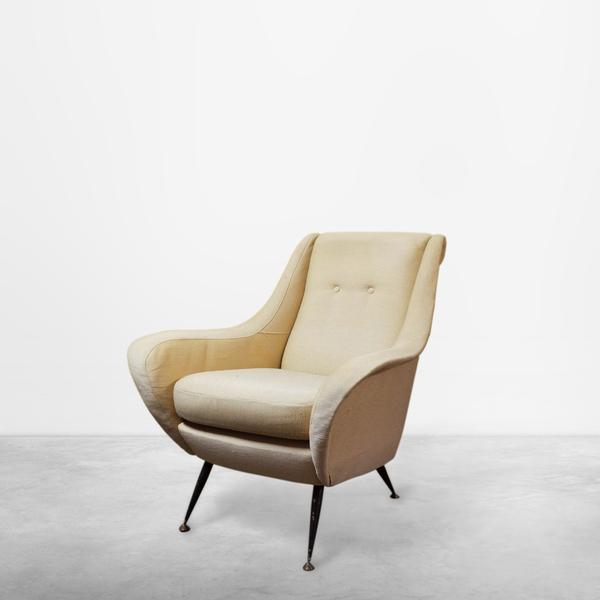 Italian Mid-Century Modern Winged Armchair, Circa 1950