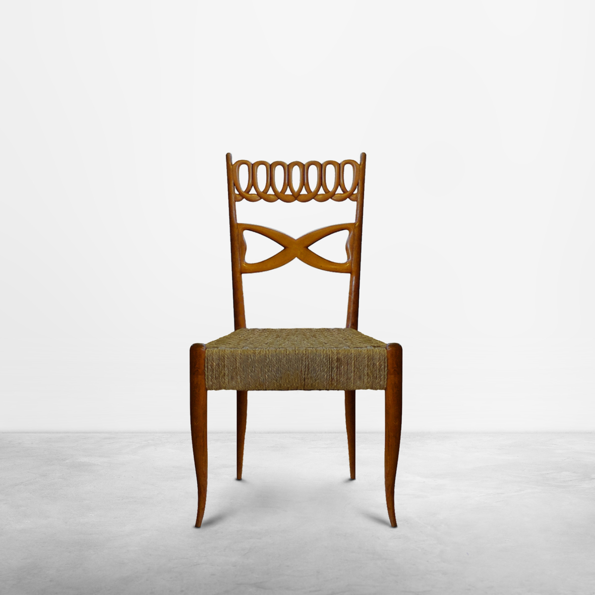 Paolo Buffa , Mid-Century Modern Set of Two wooden dining chairs, 1950s