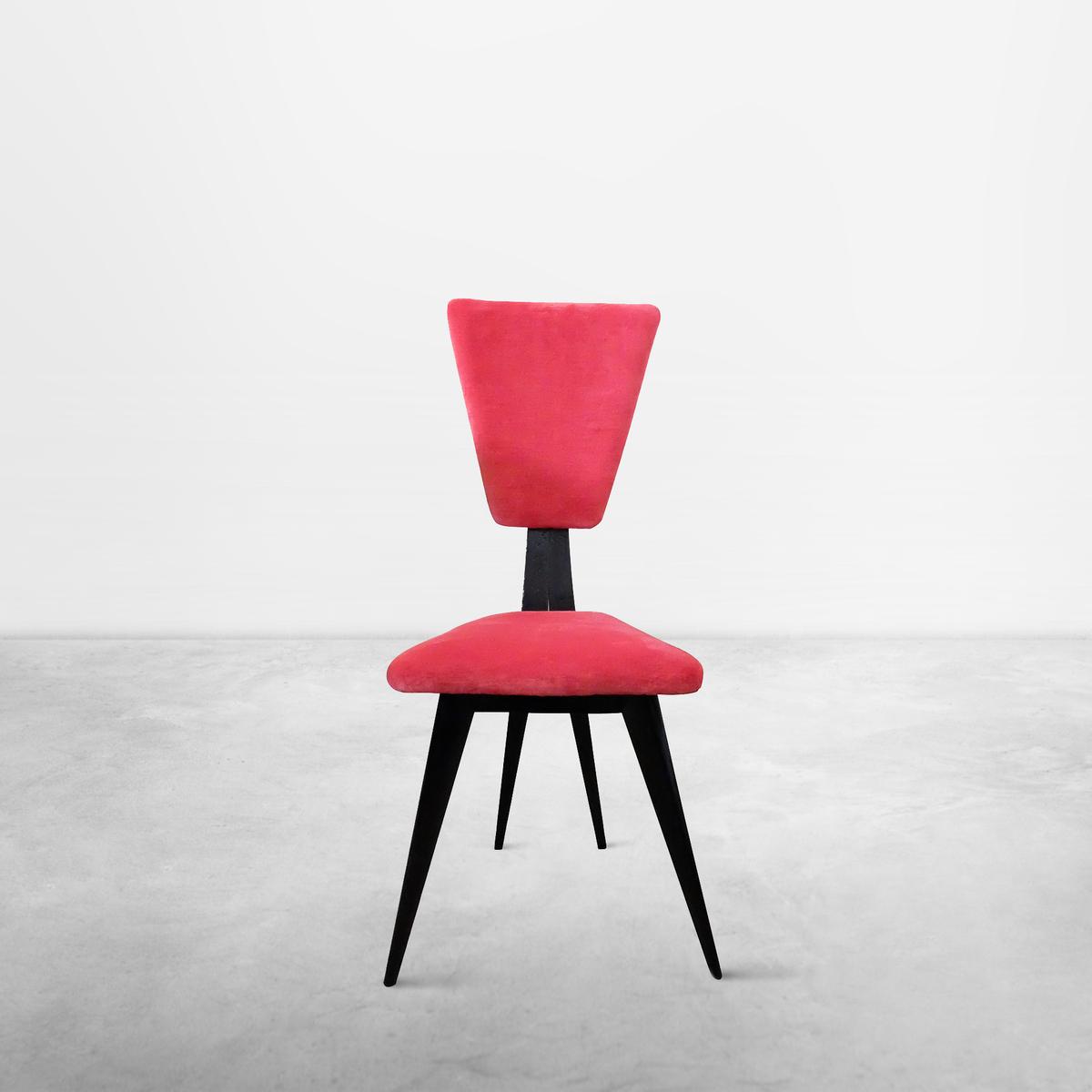Italian Mid-Century set of two Red Velvet Chairs, 1950s