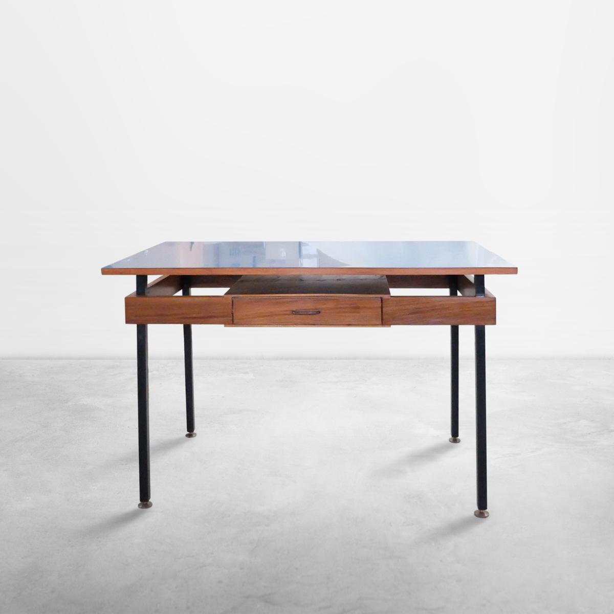 Italian Mid-Century Modern Desk with Blue Veneer Tabletop, 1950s