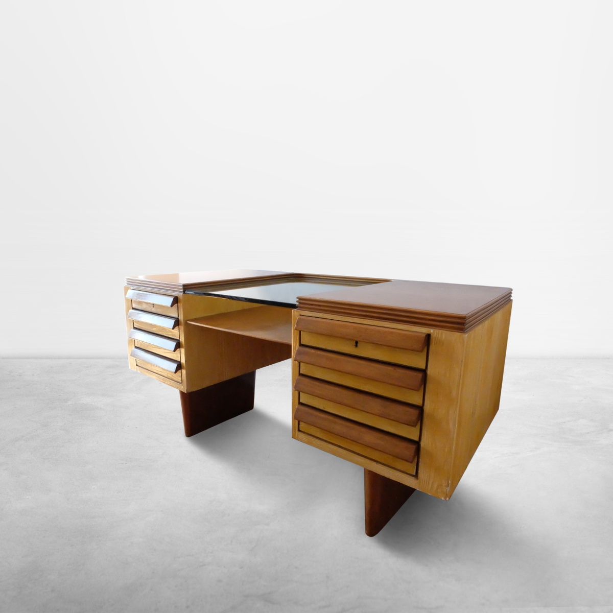 Italian Mid-Century stately wooden desk with glass top, 1950s