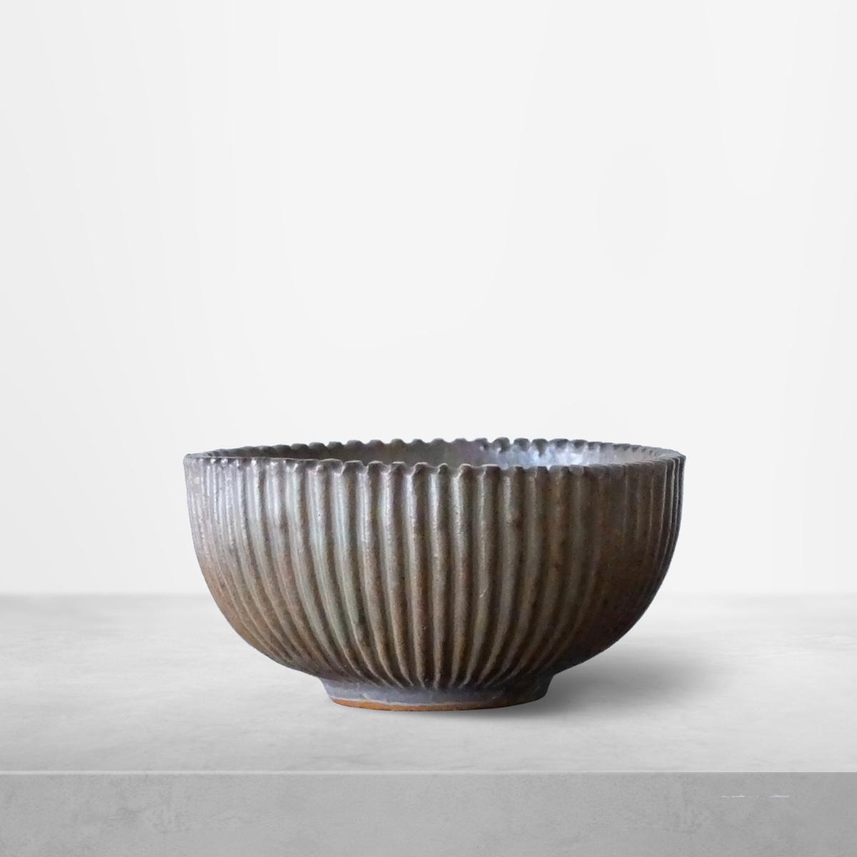Arne Bang for Royal Copenhagen, Ribbed Ceramic Bowl Model 118, 1940s