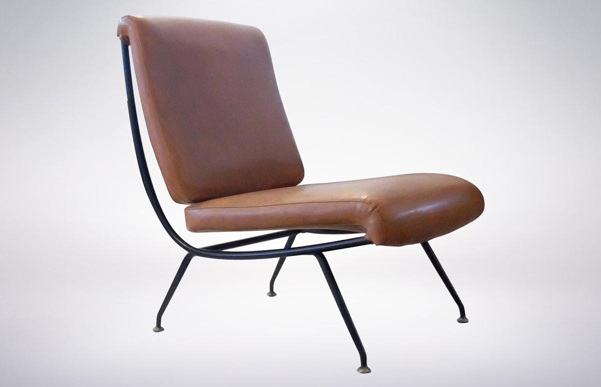 Gastone Rinaldi for RIMA, Italian Mid-Century Modern Leather Armchair Model DU24, 1956