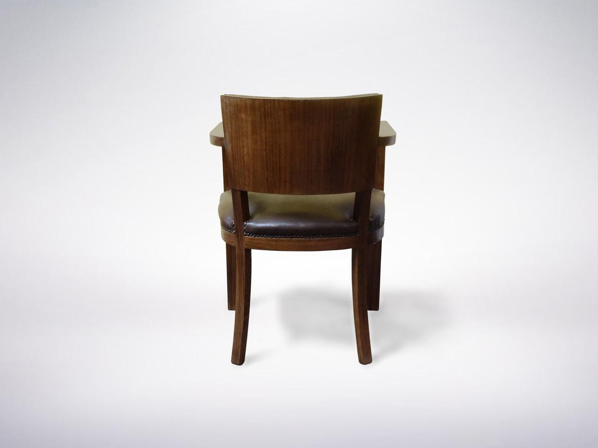 Italian Mid-Century Modern, Brown Leather and Wood Armchair, circa 1950