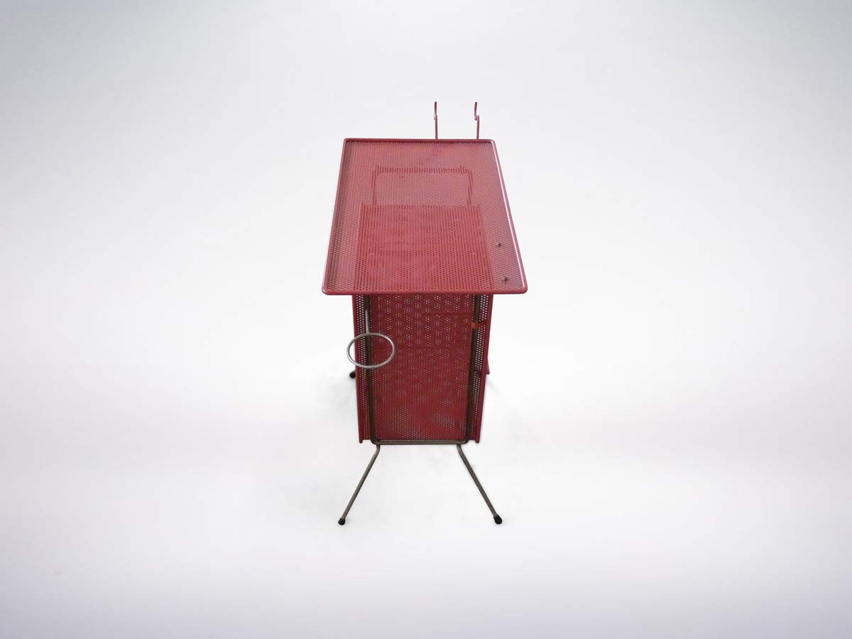 Mathieu Mategot, French Mid-Century Modern, Perforated Red Metal SIde Table, 1950