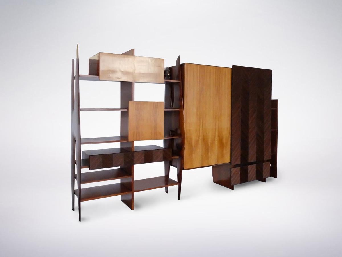 Ico Parisi, Italian Mid-Century Large Bookshelf in Rosewood and Ashwood, 1950