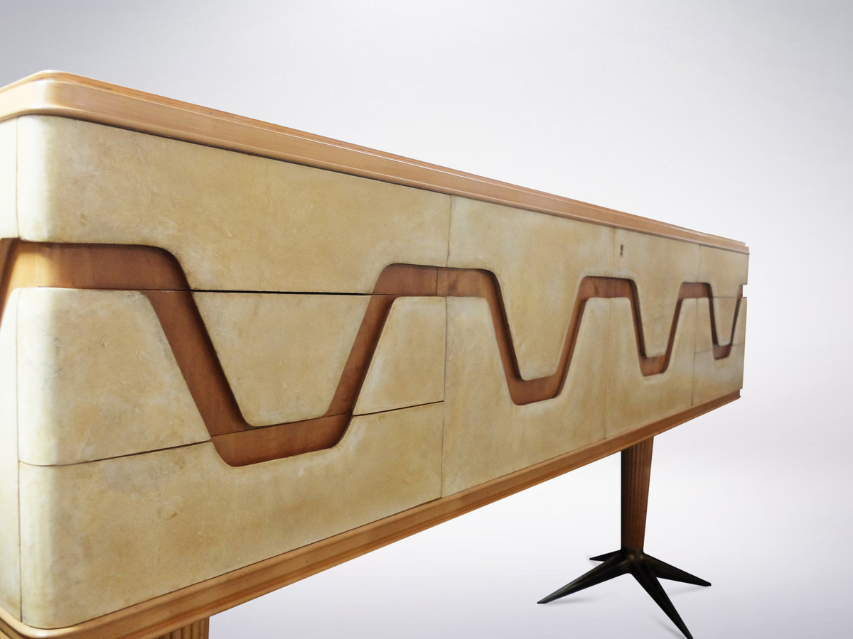 Italian Midcentury Parchment and Walnut Sideboard with Brass Legs, 1940s