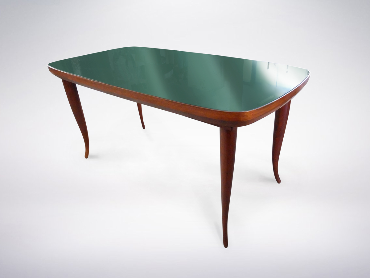 Wooden Dining Table with Green Glass Top, circa 1950