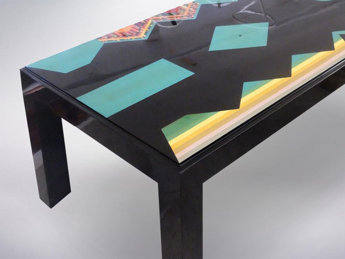 """Alessandro Mendini , """"Buon Compleanno"""" Unique Large Black Table for Nanda Vigo, 1985"""