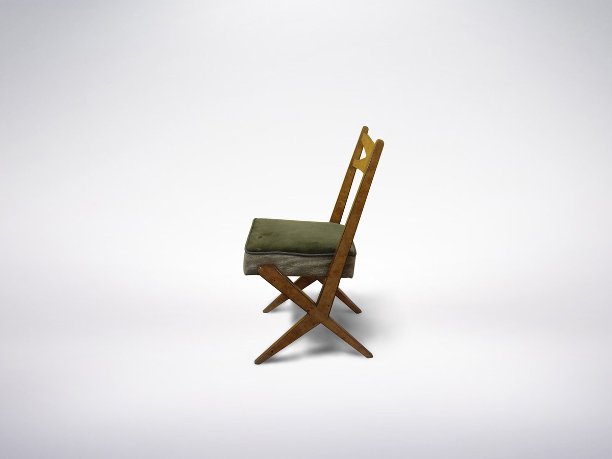 BBPR, set of 3 Italian Mid-century Modern Wooden and Velour Chairs, 1948
