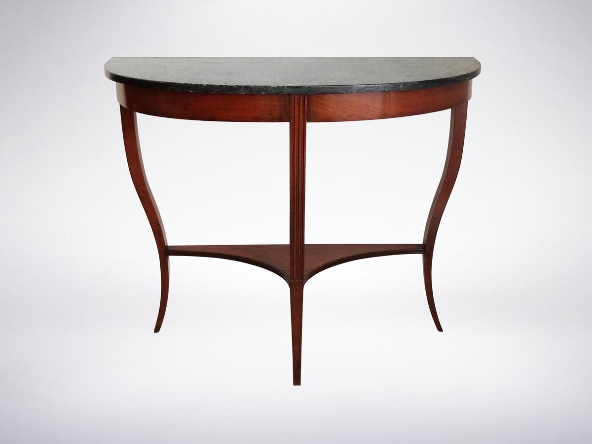 Italian Mid-Century Modern Wooden Demilune Consolle Table, 1950s
