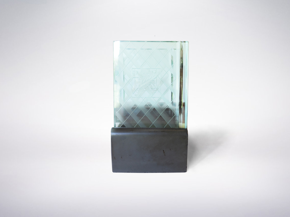 Luigi Brusotti, Italian Mid-Century Etched Glass Desk Stand, circa 1930