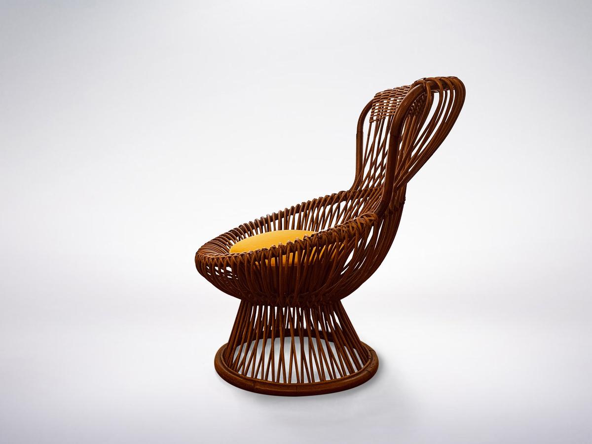 "Franco Albini for Bonacina, Mid-Century Rattan Chair ""Margherita"", 1950."