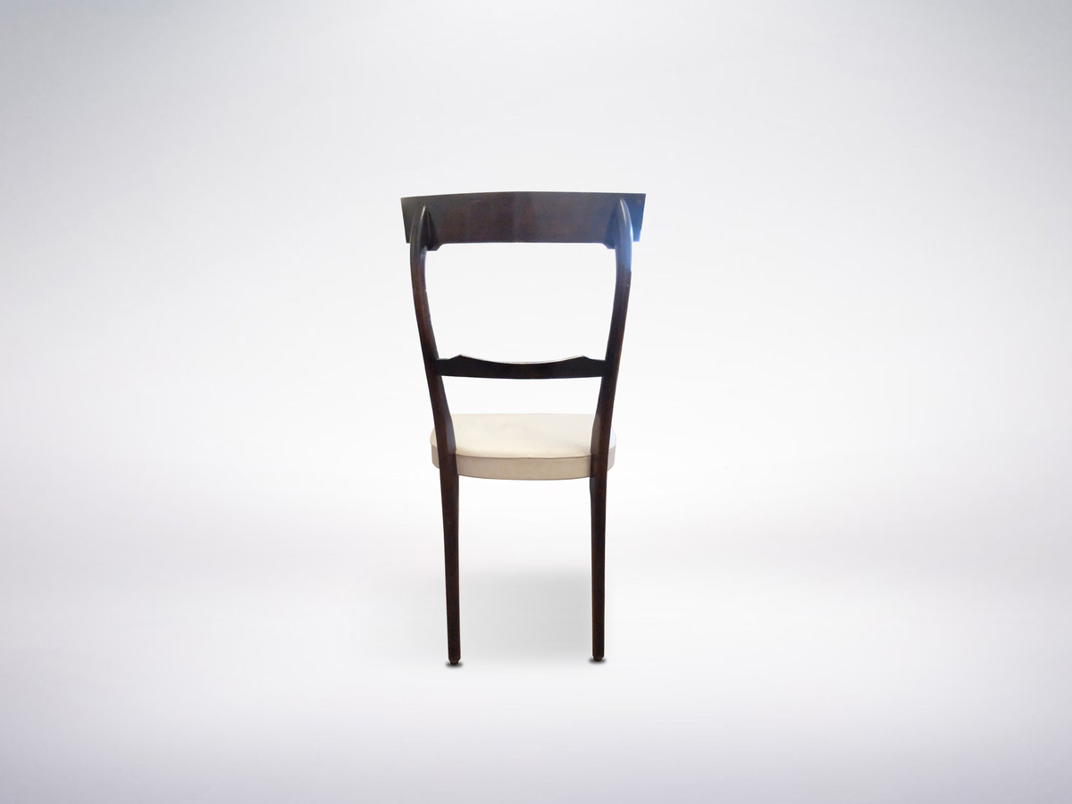 Carlo de Carli, Set of 6 Dining Chairs in ebonized wood and leather, 1950s