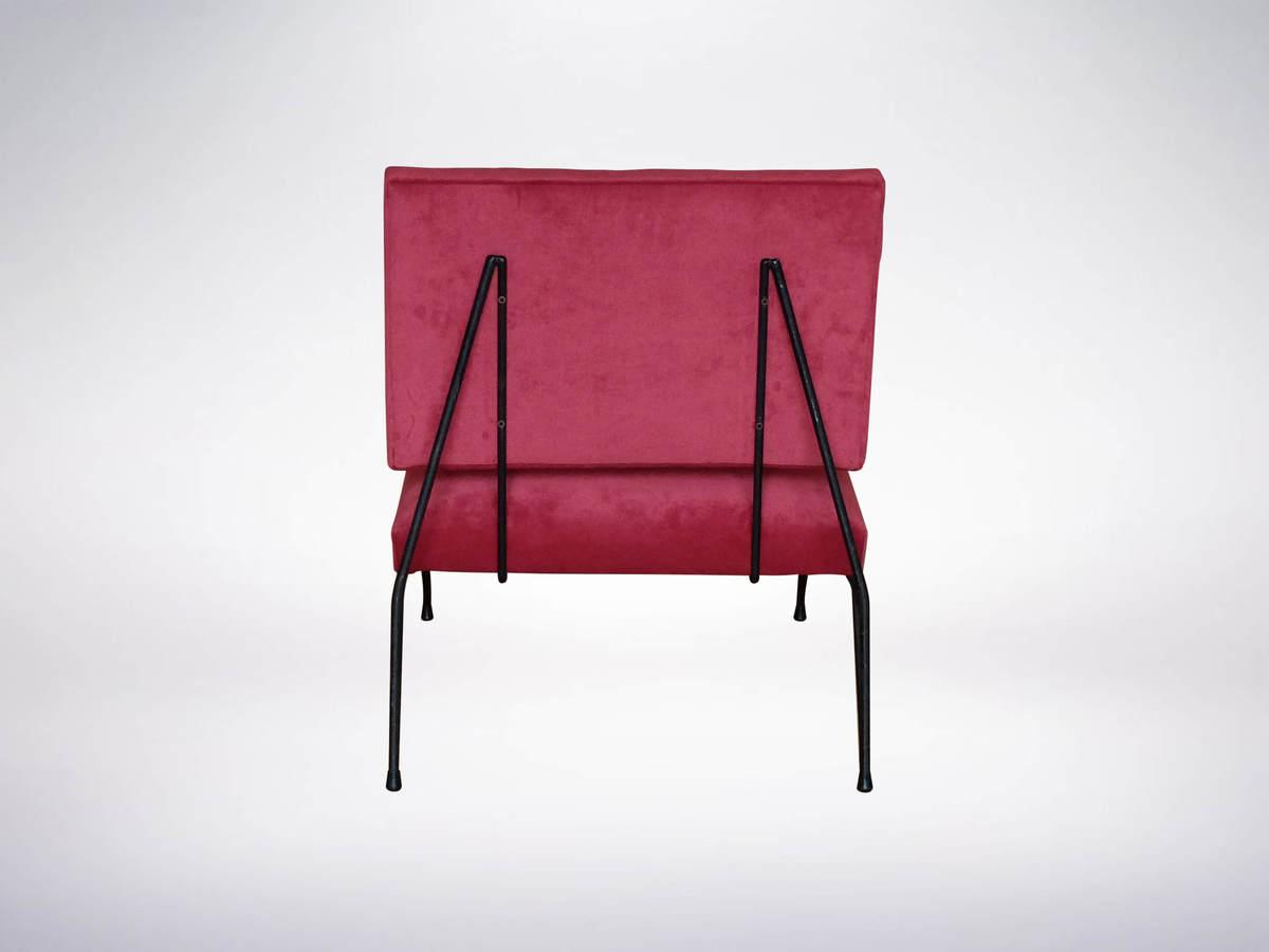 Cerutti, Mid-Century elegant pair of modernist armchairs in Lush Red Velveteen Upholstery