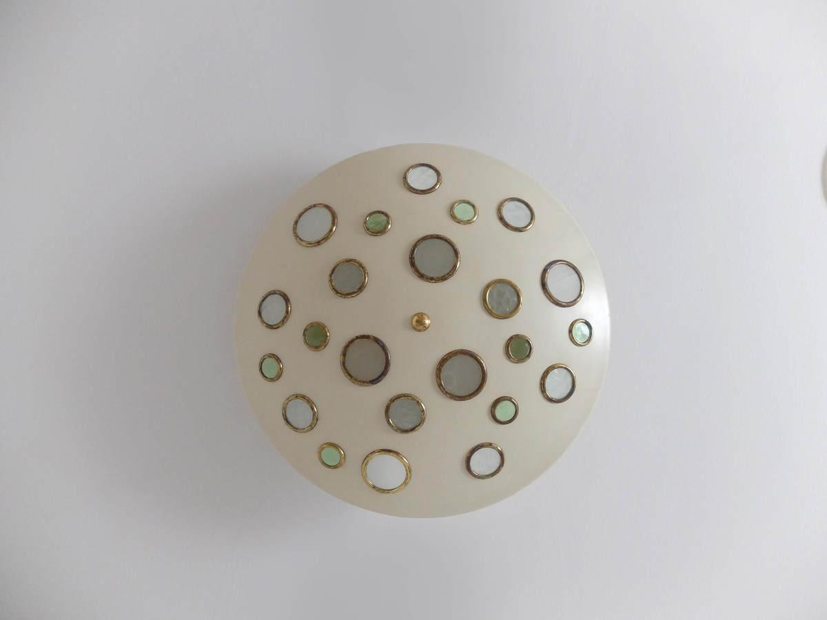 Italian Mid-Century, large round flush mount by Stilnovo in metal & glass, 1950s