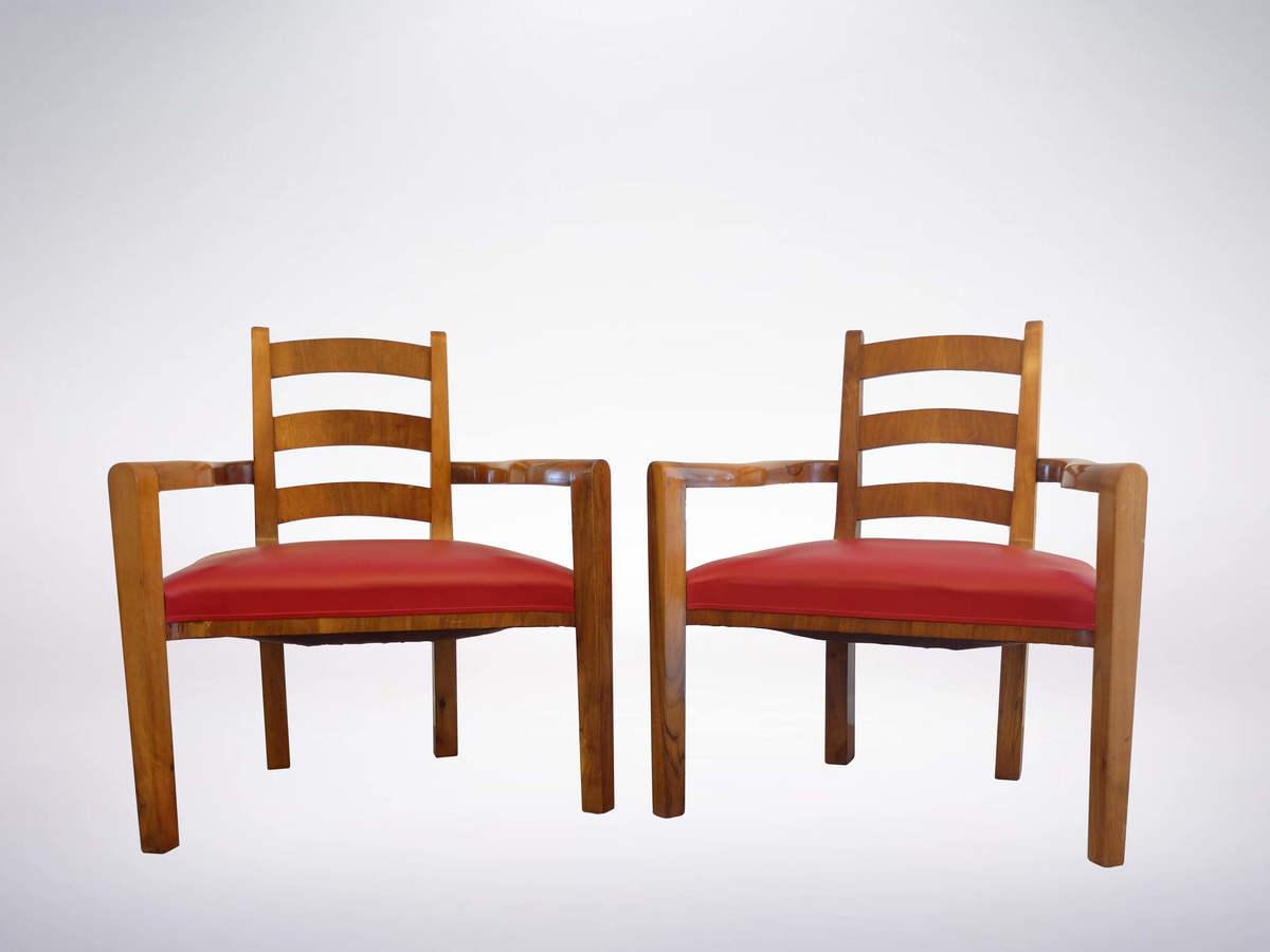 Kem Weber, American Art Deco Set of Two Armchairs, circa 1930