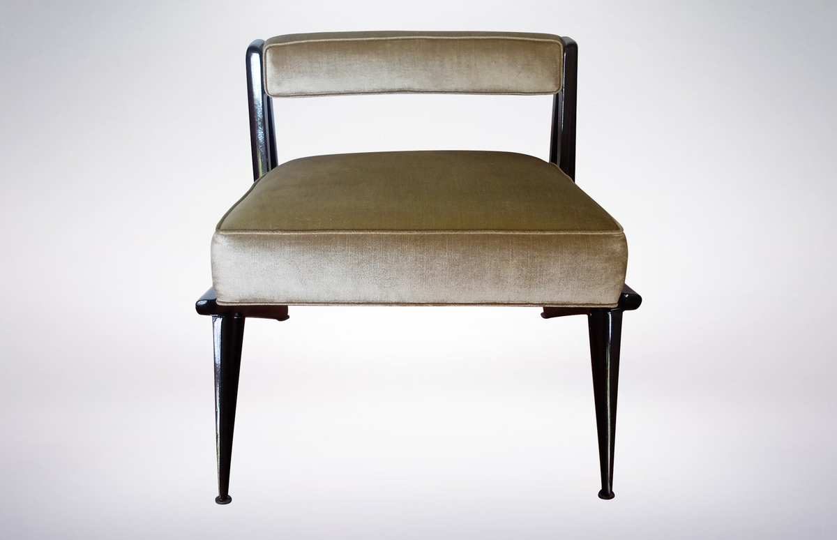 Pair of Modernist Armchairs in Pale Green Velvet Attributed to Ico Parisi, 1950s
