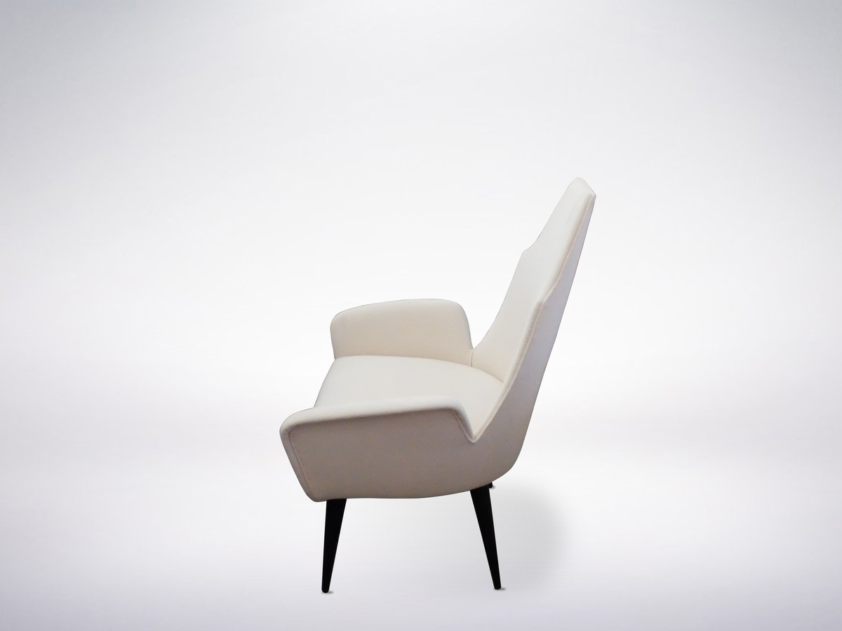 Pair of White High-Back Chairs in the Manner of Adrian Pearsall, 1960s