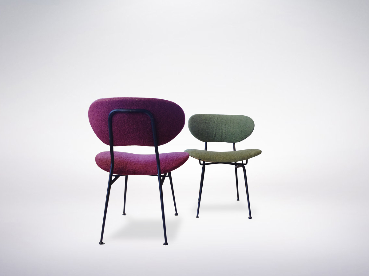 Gastone Rinaldi for Rima, Mid-Century Modern set of 2 Chairs in soft red and green fabric
